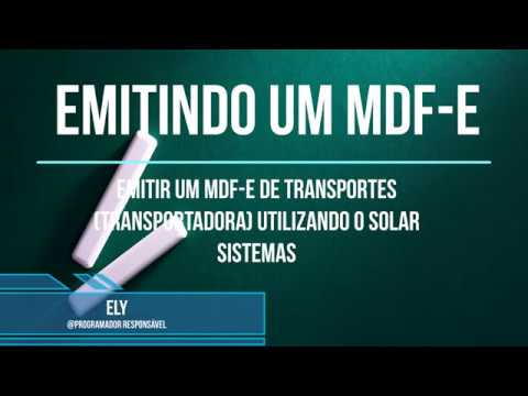 EMISSOR DE MDF e DE TRANSPORTES | SOLAR DATA SOFTWARE