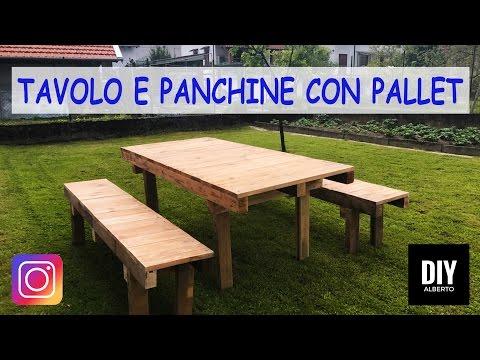 Scrivania Fai Da Te Pallet.Tavolo E Panchine Con Pallet Fai Da Te Diy Youtube