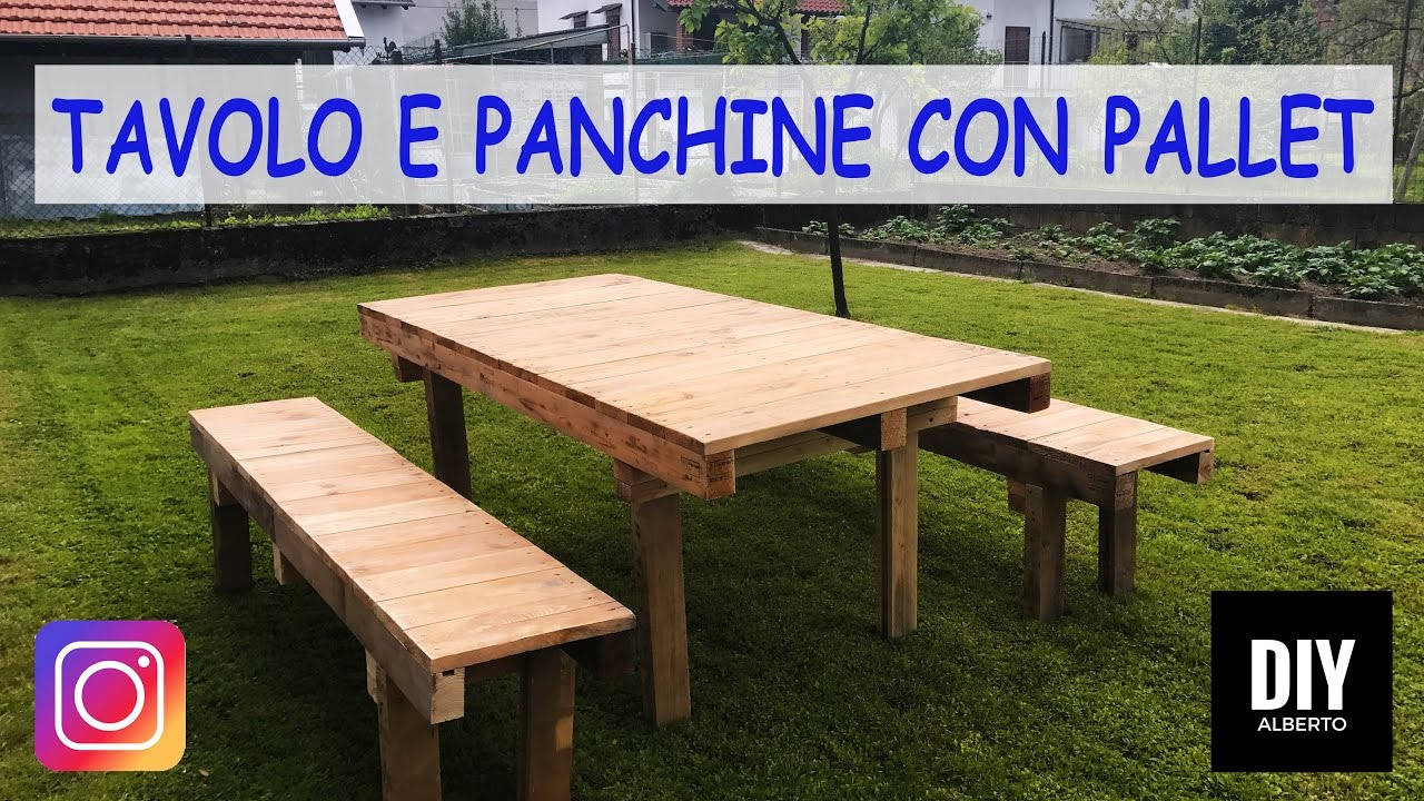 Tavolo e panchine con pallet fai da te diy youtube for Panchine fai da te