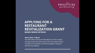 Applying for a Restaurant Revitalization Fund Grant