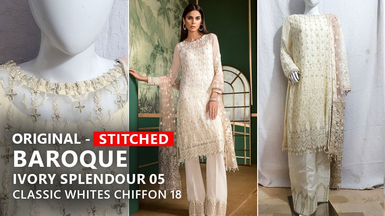 aed9f02e12 Baroque Collection 2018 - Stitched D05 Ivory Splendour Classic Whites -  Pakistani Branded Clothes. Sara Clothes