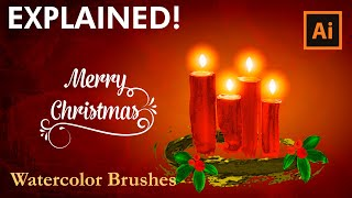 How to draw a Christmas Card with Watercolor Brushes - Illustrator Tutorial