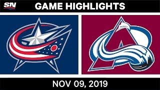NHL Highlights   Blue Jackets vs. Avalanche – Nov. 9, 2019