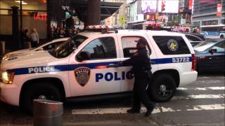 NY & NJ PORT AUTHORITY POLICE K-9 UNIT RESPONDING TO & INVESTIGATING A SUSPICIOUS BAG IN MANHATTAN.