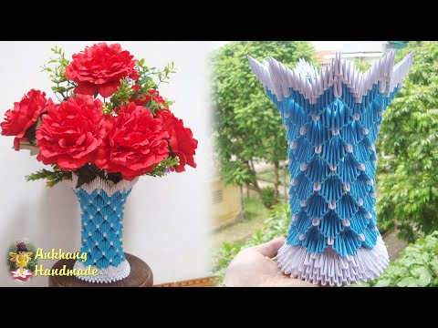 Origami vase from pieces of paper ♡ DIY How to make an origami ... | 360x480