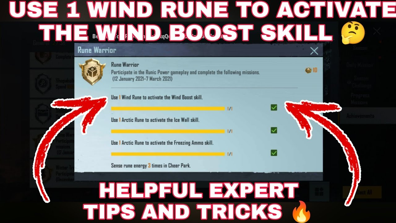 Download USE 1 WIND RUNE TO ACTIVATE THE WIND BOOST SKILL MISSION IN RUNE WARRIOR ACHIEVEMENT