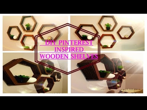 DIY Pinterest Inspired Wooden Hexagon Shelves