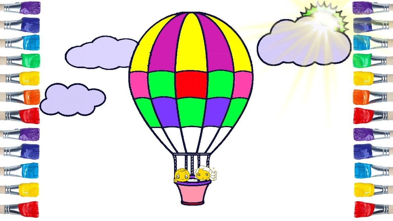 How To Draw Hot Air Balloon Coloring And Drawing For Kids Youtube