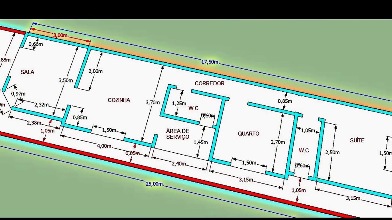 Planta Baixa De Casa Terreno 5 M X 25 M Youtube