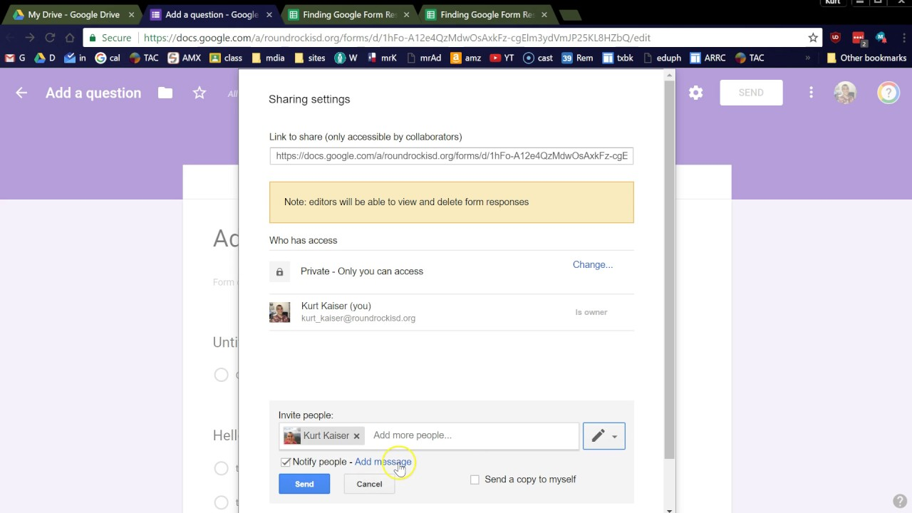 Add Multiple People to Make a Google Form - No Ads - YouTube