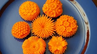 How to Make Carrot Flowers - Vegetable Carving Garnish - Sushi Garnish - Food Decoration