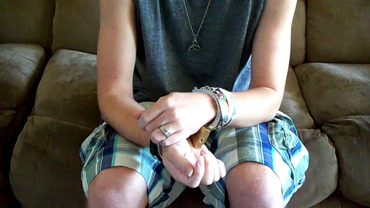 Me trying to get out of the modified pair of handcuffs! HD - YouTube