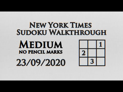 New York Times Medium Sudoku No Pencil Markings - 23/09/2020