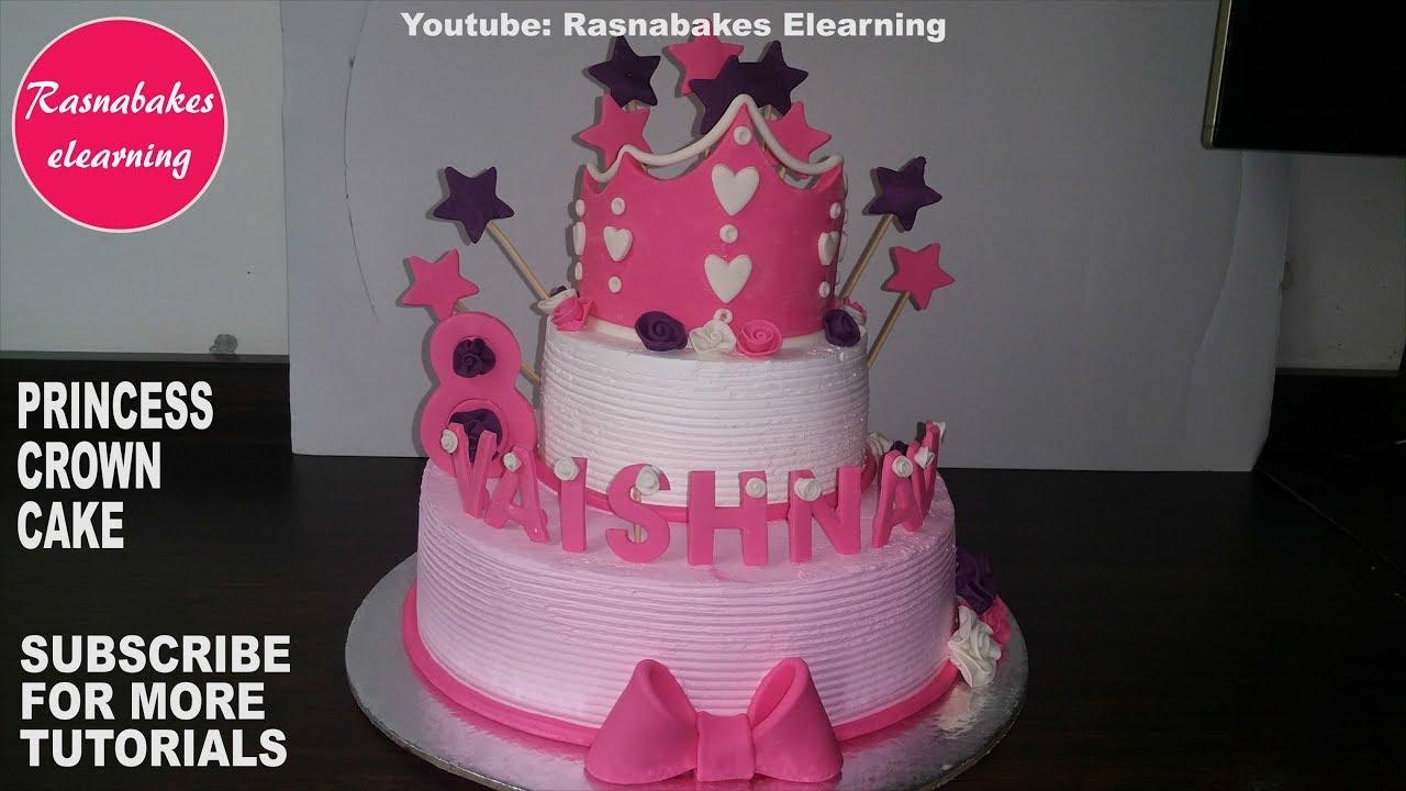 Disney Princess Crown Tiara Theme Birthday Party Cake For Girls Design Ideas Decorating Tutorial