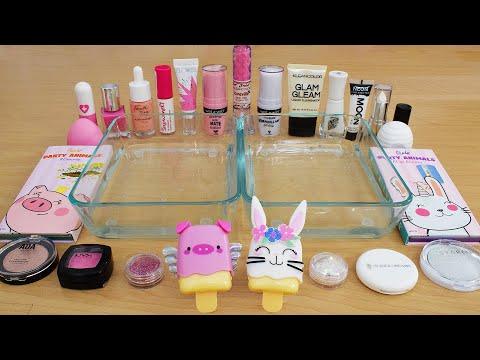 Pink vs White  - Mixing Makeup Eyeshadow Into Slime ASMR 255 Satisfying Slime Video