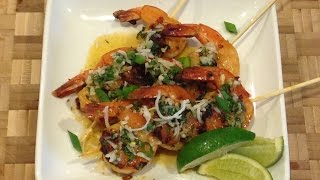 Coconut Curry Grilled Shrimp W/ Honey Lime Dipping Sauce