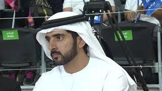 """بالفيديو والصور .. حمدان بن محمد يزور """"الأولمبياد الخاص"""" ويتابع جانباً من مباراة الإمارات ومصر في السلة"""