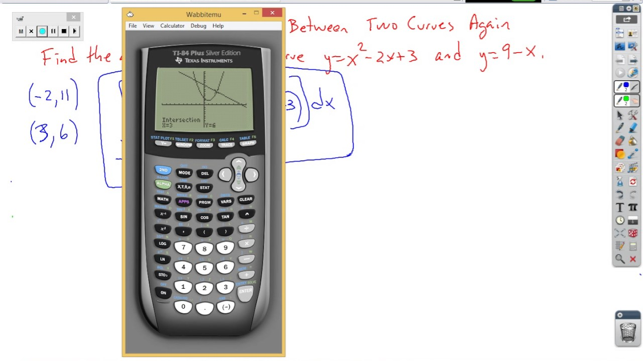Using your calculator to find area between two curves again - YouTube