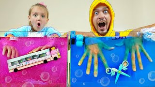 Pink VS Blue Challenge - Mixing Into Slime! | Back To School con Mi Mi Kids | Satisfying Slime Video