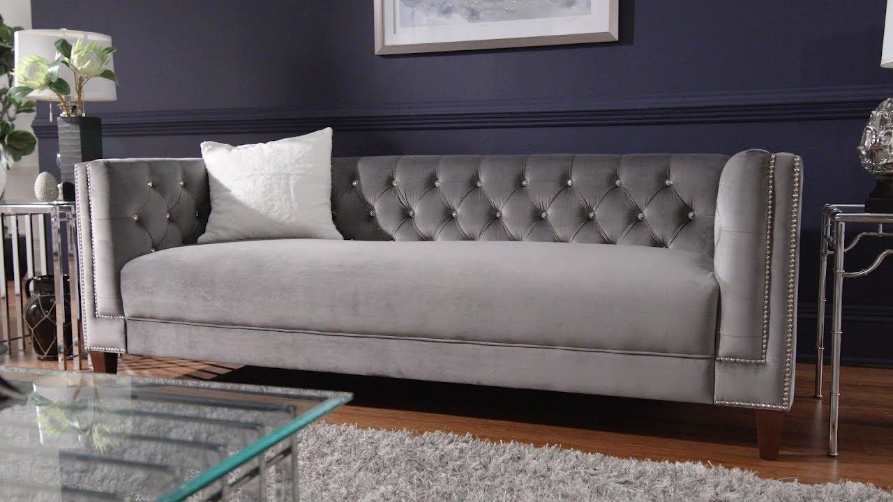 Light Grey Velvet Sofa Love Seat Chair