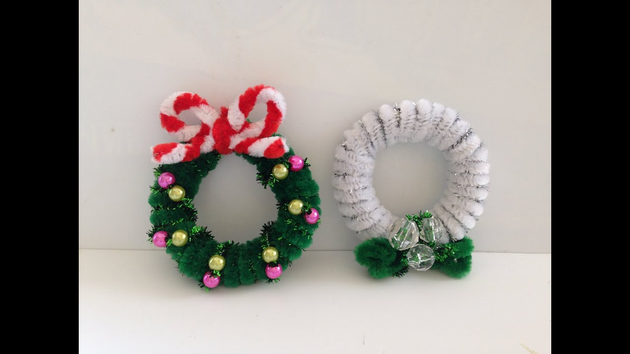 how to make a pipe cleaner christmas wreath 2 youtube