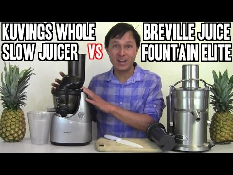 Whole Slow Juicer Review : Breville Juice Fountain Elite vs Kuvings Whole Slow Juicer Review - YouTube
