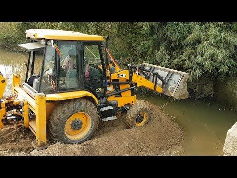 JCB Working on Mud - JCB Working For New Bridge Construction - Dozer Video 3 - 동영상