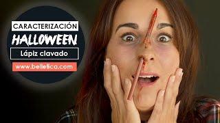 Maquillaje Halloween - Herida con látex. Lápiz clavado✏ 👻