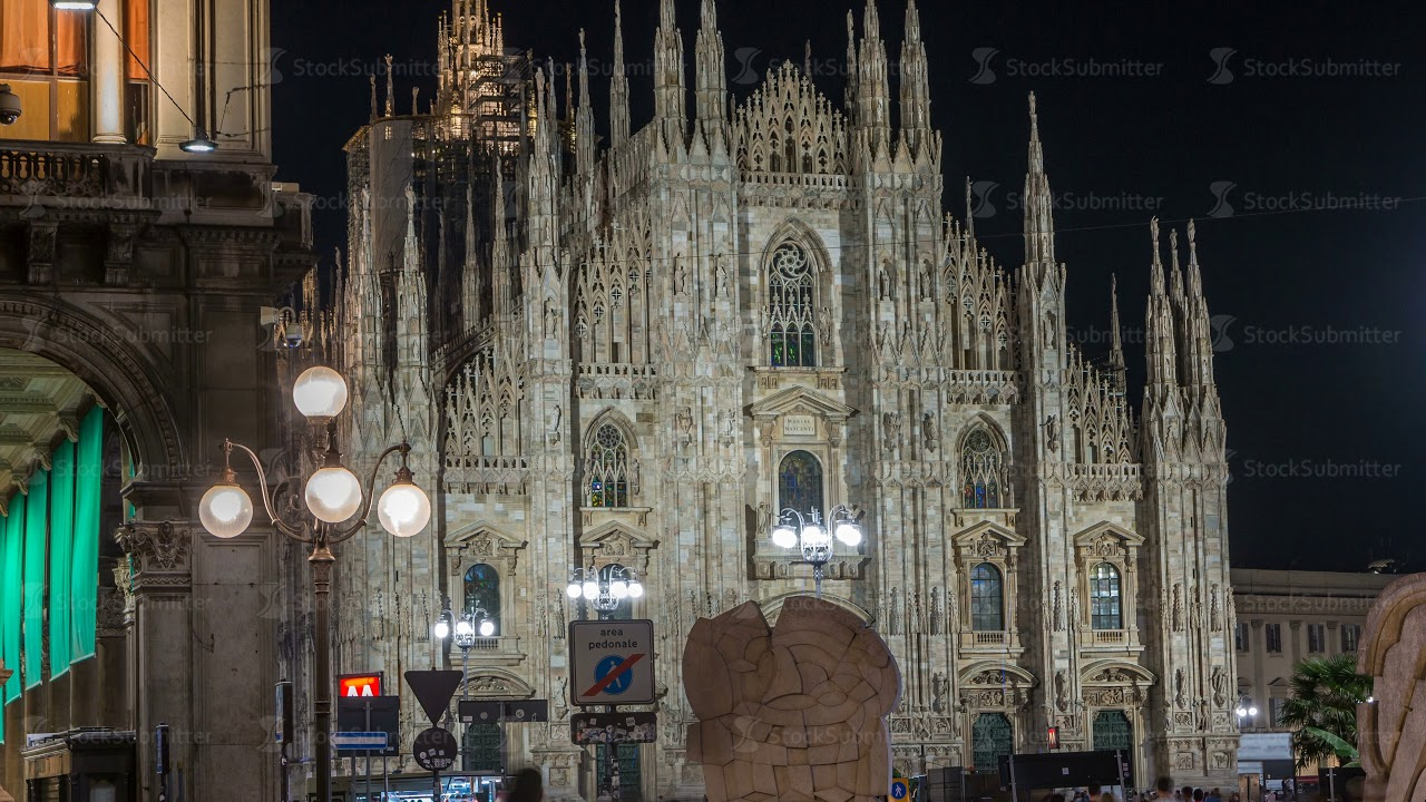 Milan Cathedral Night Timelapse Duomo Di Milano Is The Gothic Church Of Italy