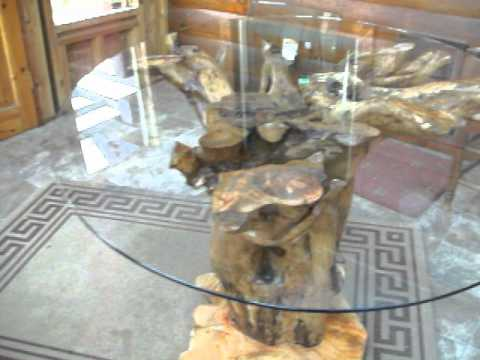 tree root table with glass top youtube