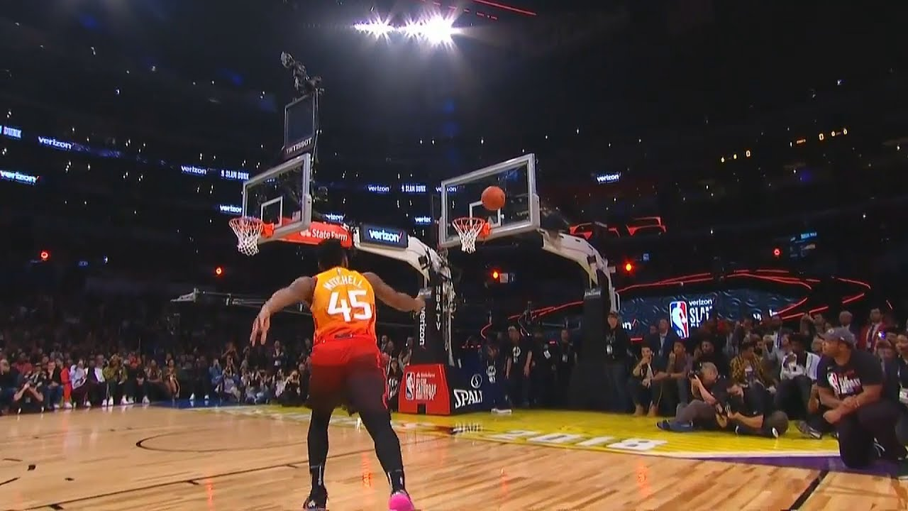 Donovan Mitchell Dunks On Two Rims In 2018 Nba All Star Slam Dunk Contest