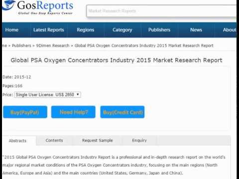 Global PSA Oxygen Concentrators Industry 2015 Market Research Report