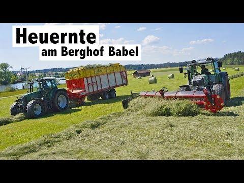 Heuernte am Berghof Babel mit Kammschwader und Doppelmessermhwerk von BB Umwelttechnik