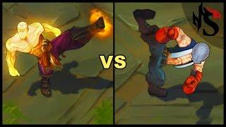 God Fist Lee Sin vs Knockout Lee Sin Legendary vs Epic Skins Comparison (League of Legends)