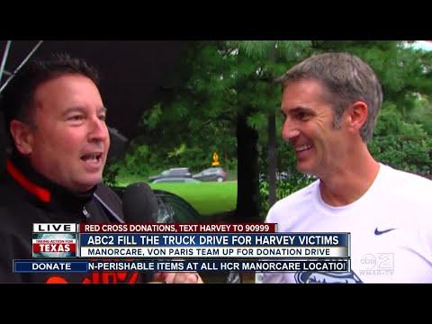 Matt Stover stops by Harvey donation drive