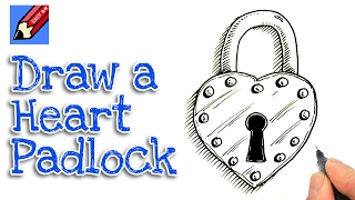 How to draw a heart shaped padlock real easy