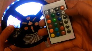 unboxing and Review 5M 5050 RGB 300 SMD LED Strip Lights with remote Controller