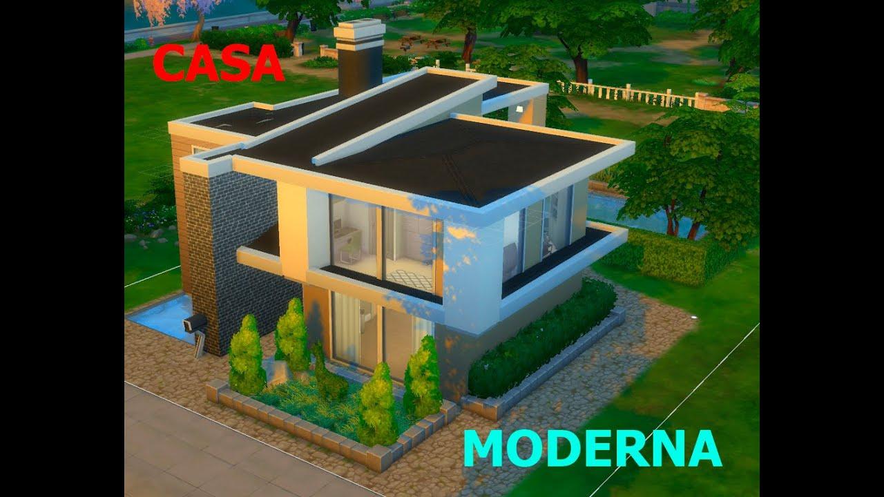 Los sims 4 speed build de casa moderna 1 parte 1 youtube for Casa moderna los sims 4