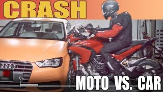 Moto vs. Car - CRASH TEST - 2015 Ducati Multistrada vs. Audi A3