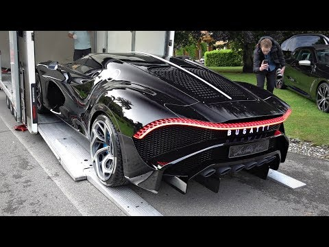€16.7m BUGATTI LA VOITURE NOIRE Being Loaded Onto A Trailer & Moving @ Villa d'Este 2019