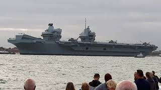 HMS Queen Elizabeth departing from Portsmouth Harbour. (Part 1)