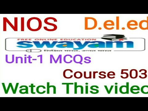 Mcqs unit-1 Course 503 Solved D.el.ed online learning.