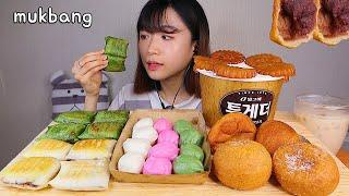MUKBANG 버터에 구워 쫄깃한 앙금절편 꿀떡 약과 찹쌀도넛 디저트 먹방 KOREAN TTEOK DONUT Dessert asmr もちドーナツ 咀嚼音