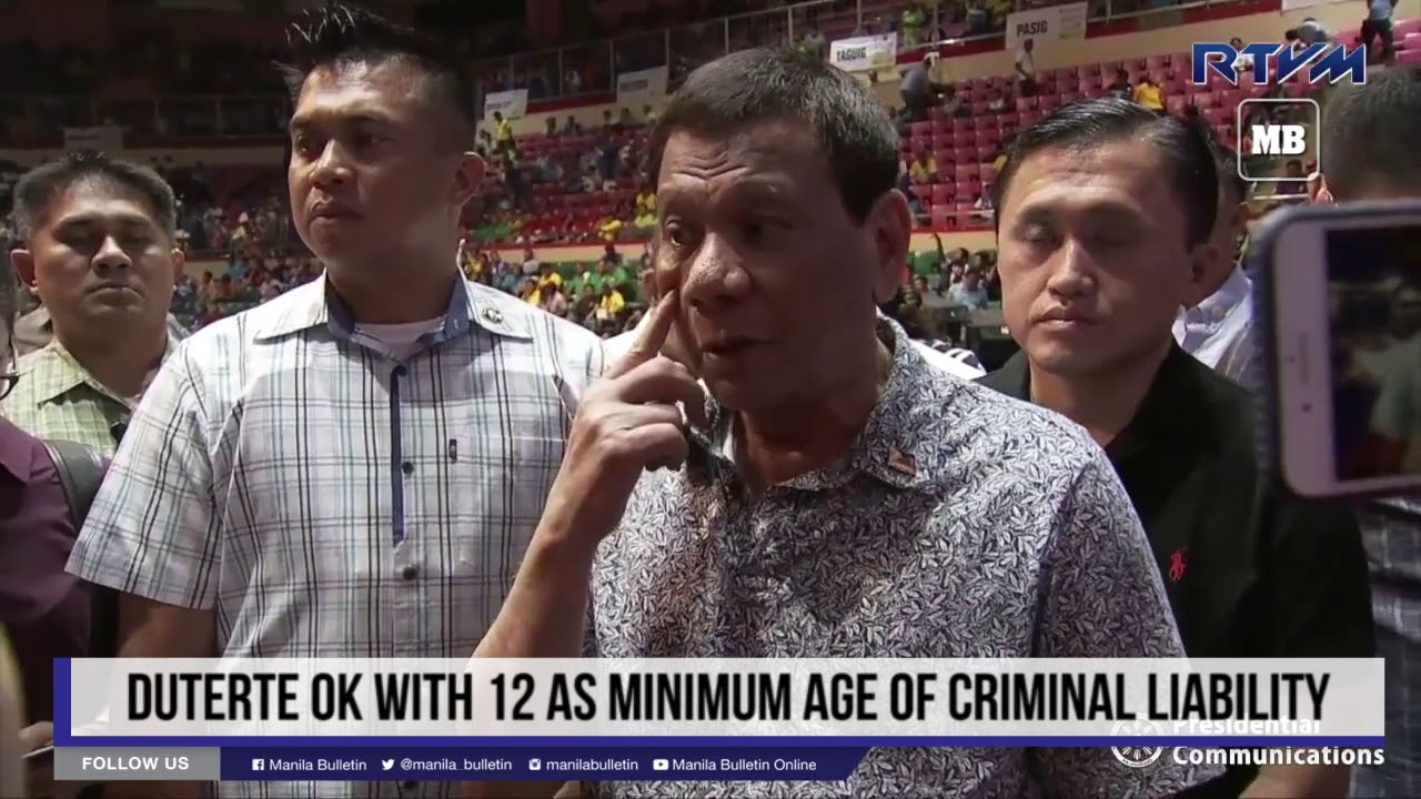 Duterte OK with 12 as minimum age of criminal liability