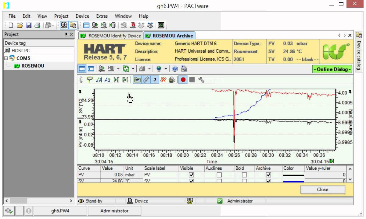 Generic HART® DTM 6 used as data logger