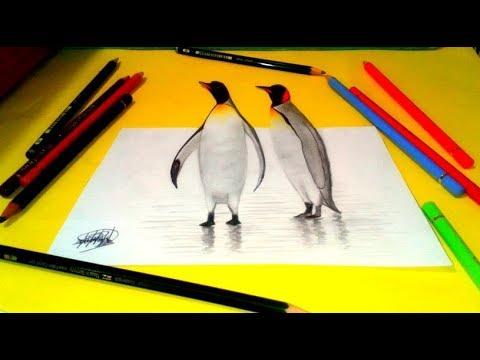 Dibujando un pingüino (Dibujo Anamorfico) 🐧  Drawing a penguin 3D