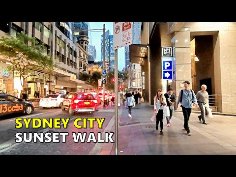 SYDNEY CITY SUNSET WALK Along Pitt Street From Circular Quay To Central Station