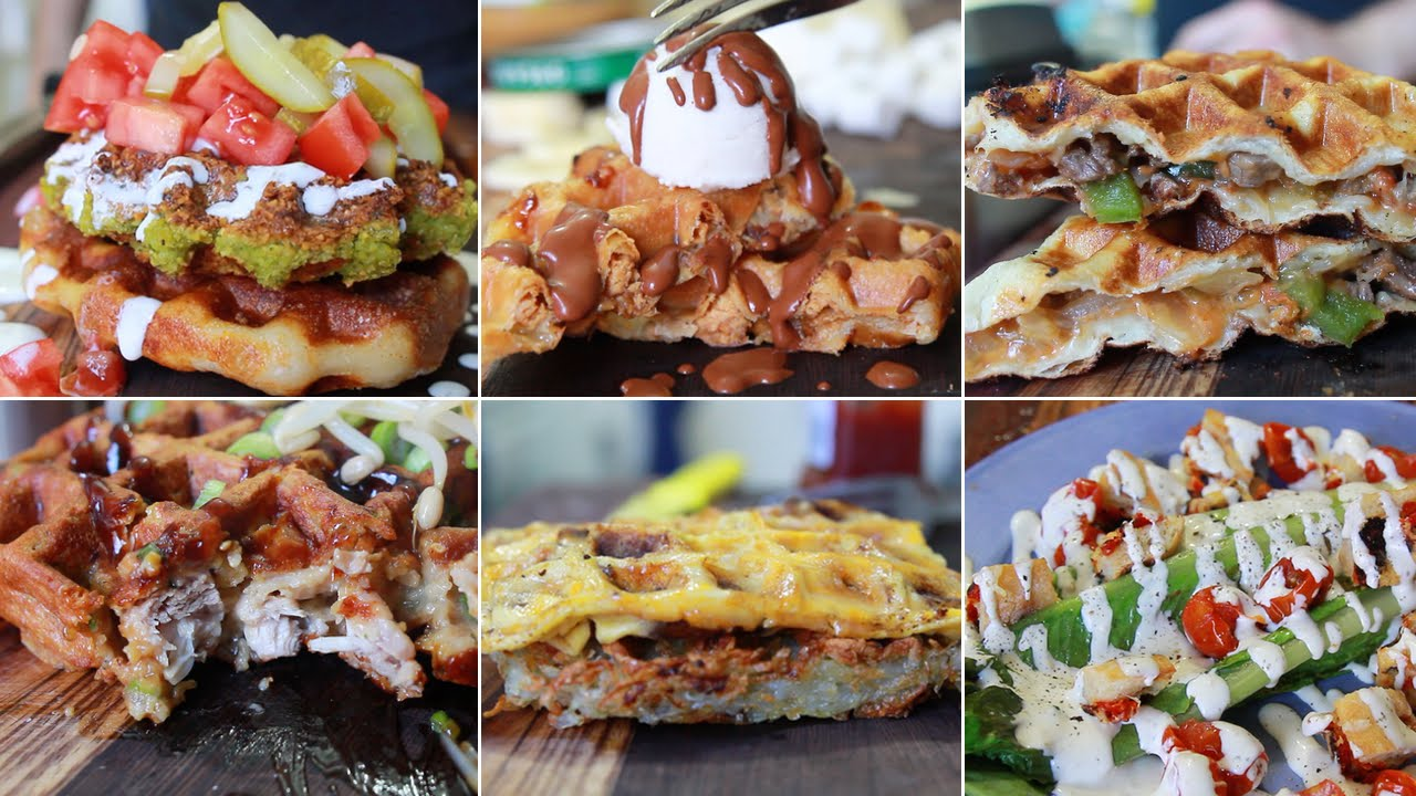6 Unique Meals Using A Waffle Maker Youtube