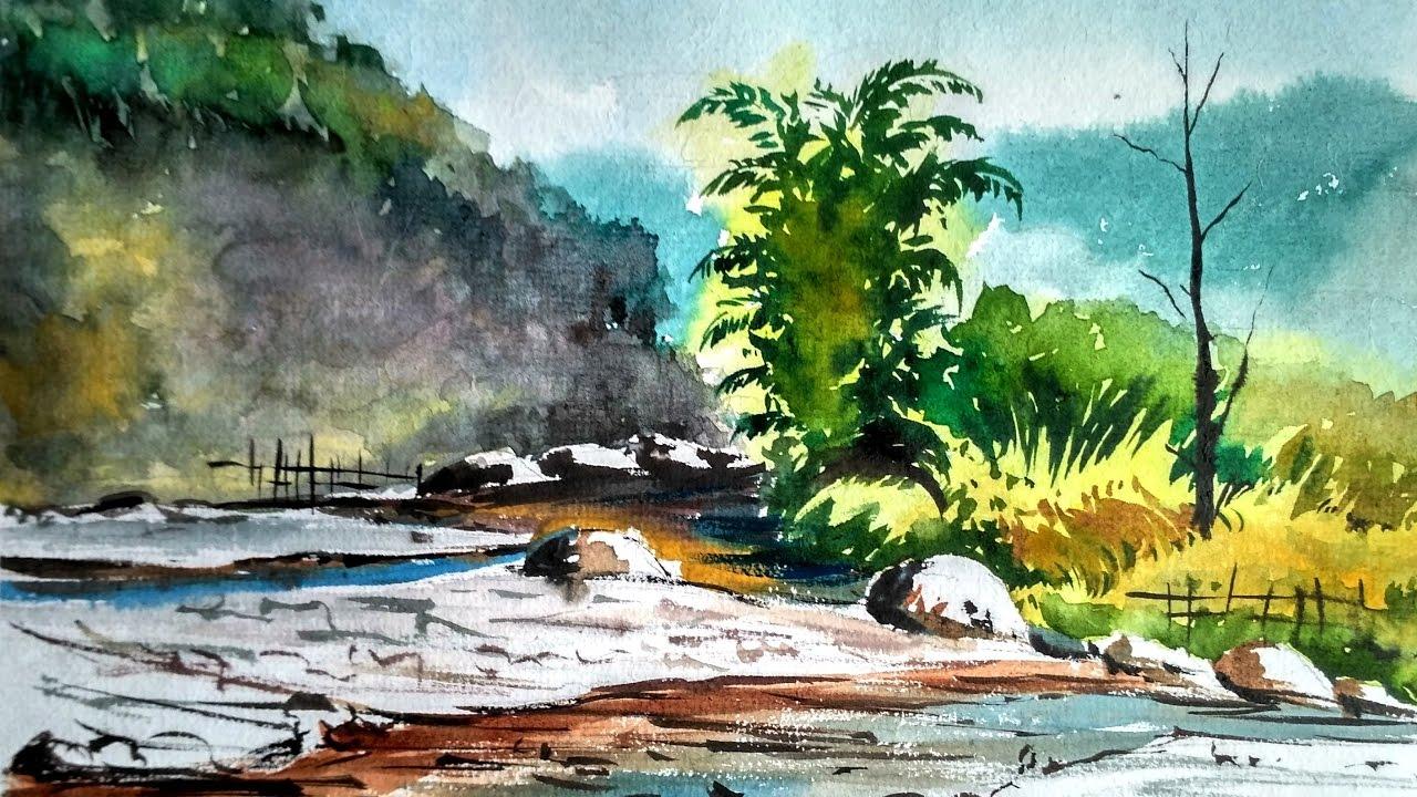 mountain river watercolor landscape