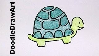 Drawing: How To Draw Cartoon Turtle  - Step by Step Drawing Lesson - Video Tutorial